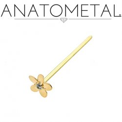 Anatometal 18kt Gold Plumeria Nostril Screw Nose Ring 1.5mm Gem 20 Gauge 18 Gauge 20g 18g