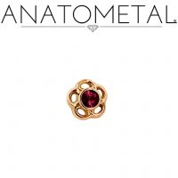 "Anatometal 18kt Gold Threadless 3.5mm Tama Gem End 18 Gauge 18g ""Press-fit"""