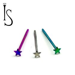 Industrial Strength Titanium 3mm 4mm Star Nostril Screw Nose Ring 20 Gauge 18 Gauge 20g 18g