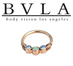 "BVLA 14kt Gold ""Faraway"" Genuine Opal Center Rainbow Moonstone Side Gems Septum Clicker Ring 16g Body Vision Los Angeles"