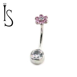 Industrial Strength Surgical Steel Navel Curve Barbell Belly Button Ring with Threaded Flower Top and 6mm Bezel-set Bottom Gem 14 Gauge 14g