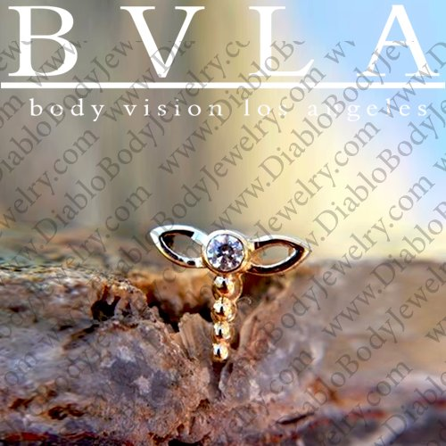 Bvla 14kt Yellow White Rose Gold Dragonfly Nostril Nose Bone Ring Stud Nail 20g 18g