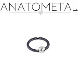 Anatometal Niobium Captive Ring with Stainless Steel Bead 10 Gauge 10g