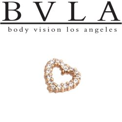 "BVLA 14Kt Gold Micro Pave ""Heart"" Outline Threadless End 18g 16g ""Press-fit"""