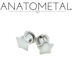 Anatometal Stainless Surgical Steel Solid Star Plugs Removable Disk 10g 8g 6g 4g 2g 0g 00g