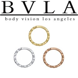 "BVLA 14kt Gold ""Hammered"" Seam Ring Nose Nostril Septum Ring 16 Gauge 16g Body Vision Los Angeles"