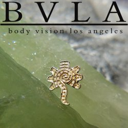 "BVLA 14kt Gold ""Tecolate"" Threadless End 18g 16g 14g ""Press-fit"""