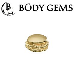 "Body Gems 14kt Gold ""Burger"" Threaded End Dermal Top 18 Gauge 16 Gauge 14 Gauge 12 Gauge 18g 16g 14g 12g"