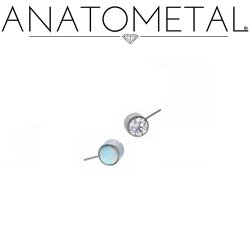 Anatometal Titanium Threadless Side-set 4mm Bezel-set Gem End 18g 16g 14g (25g Pin Universal) Threadless Posts Press-fit