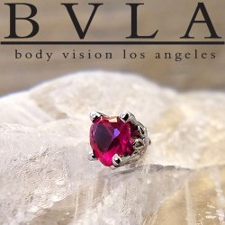 BVLA 14kt Gold Scroll Prong-set Heart Threaded End Dermal Top 18g 16g 14g 12g Body Vision Los Angeles
