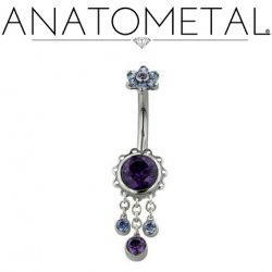 Anatometal Surgical Steel Aurora Navel Curve Belly Button Ring 4.5mm Flower w/ Dangles 14 Gauge 14g