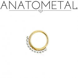 Anatometal Vaughn 18kt gold Seam Ring With Silver Bead Overlay 16 Gauge 16g