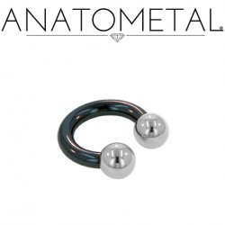 Anatometal Niobium Circular Barbell with Steel Ball Ends 8 gauge 8g