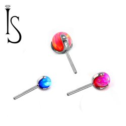 "Industrial Strength Titanium 3 Prong Synthetic Opal Ball 2mm 3mm 4mm 5mm Threadless Gem End 18 Gauge 18g ""Press-fit"""