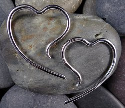 Little Seven Stainless Steel Heart Hangers Erosica 14g 12g 10g 8g 6g 4g (Pair)