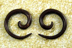 Organic Coconut Shell Spirals 12g-6g (Pair) 2mm-4mm