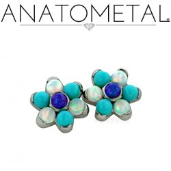 Anatometal Surgical Steel Threaded 7mm Flower 2mm gems 14 gauge 12 gauge 14g 12g