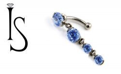 IS Titanium Fixed Top 2 Prong Faceted Gem Curved Barbell w/ 6mm & (2) 4mm Dangles 14g 14 gauge