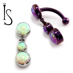 IS Titanium Fixed Top Bezel-set Faux-pal Cab Gem Curved Barbell w/ 4mm/6mm Dangles 14 gauge 14g
