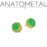 "Anatometal 18kt Gold Threadless 3mm Prong-set Cabochon Gem End 18 Gauge 18g ""Press-fit"""
