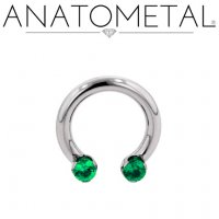 Anatometal Titanium Circular Barbell Front-set 3mm Prong-set Faceted Gems 12 Gauge 10 Gauge 8 Gauge 12g 10g 8g