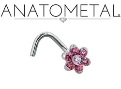 Anatometal Stainless Surgical Steel 2mm Gem Flower Nostril Screw Nose Ring Nail 20 Gauge 18 Gauge 20g 18g
