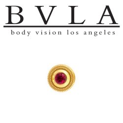 BVLA 14Kt Gold Millgrain Bezel Threaded End Dermal Top 6.5mm 18g 16g 14g 12g Body Vision Los Angeles