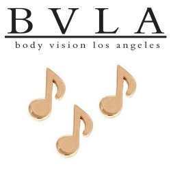 "BVLA 14kt Gold ""Music Note"" Threadless End 18g 16g 14g ""Press-fit"""