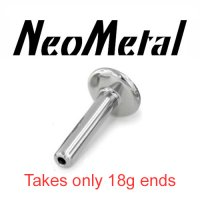 "16 Gauge 16g Labret Universal NeoMetal Threadless Titanium Flatback Labret Post 5/32"" Disk 16 gauge accepts only 18 gauge ends ""press-fit"""