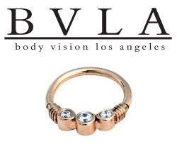 "BVLA 14kt Gold ""Faraway"" Cubic Zirconia Septum Ring 16g 16 guage Body Vision Los Angeles"