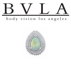 "BVLA 14Kt Gold ""Afghan"" Pear Threaded End Dermal Top 18g 16g 14g 12g Body Vision Los Angeles"