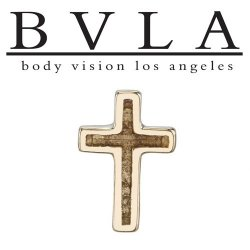 "BVLA 14Kt Gold ""Relief Cross"" Threadless End 18g 16g 14g ""Press-fit"""