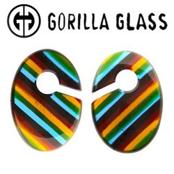 "Gorilla Glass Linear Ovoids 2.6oz Ear Weights 5/8"" And Up (Pair)"