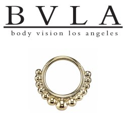 "BVLA 14kt Gold ""Graduating Latchmi"" Septum Clicker Ring 14 Gauge 14g Body Vision Los Angeles"