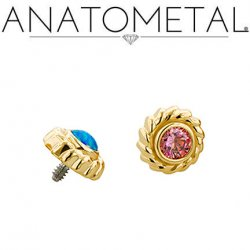 Anatometal 18kt Gold Purity Threaded End 3.0mm Gem 18g 16g 14g 12g