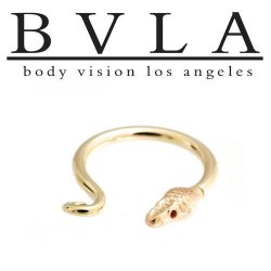 "BVLA 14kt ""Serpent Ring"" Nose Nostril Septum Ring 12g Body Vision Los Angele"