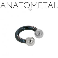Anatometal Niobium Circular Barbell with Steel Ball Ends 6 Gauge 6g