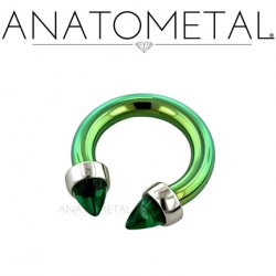 Anatometal Titanium Circular Barbell with Surgical Steel Bullet Cone Ends 16g 14g 12g
