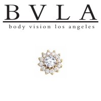 "BVLA ""The Rose"" 6mm Dermal Anchor Top Gold Threaded End Genuine Diamonds14kt Gold 18g 16g 14g 12g Body Vision Los Angeles"