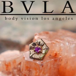 "BVLA 14Kt Gold ""Morning Glory"" Threadless End 18g 16g 14g ""Press-fit"" Body Vision Los Angeles"