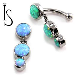 IS Titanium Fixed Top Bezel-set Faux-pal Cab Gem Curved Barbell w/ 6mm/4mm Dangles 14 gauge 14g