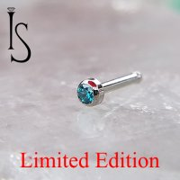 "Industrial Strength Stainless Surgical Steel Nose Bone Stud 2mm Mint Green Bezel Gem 1/4"" Length 18 Gauge 18g Limited Edition"