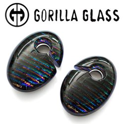 "Gorilla Glass Iridescent Ovoids 2.6oz Ear Weights 5/8"" And Up (Pair)"