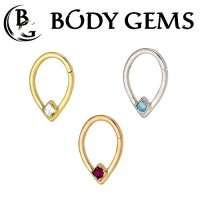 Body Gems 14kt Gold Bombastic Daith Septum Seam Ring 2mm Princess Gem 18 Gauge 16 Gauge 18g 16g