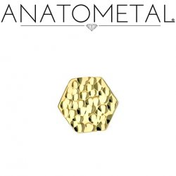 Anatometal 18Kt Gold Hammered Hexagon Threaded End 18g 16g 14g 12g