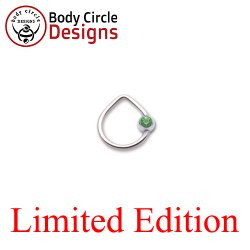 "Body Circle Surgical Stainless Steel 3/8"" Triangle Captive Bead Ring with Faceted Light Green Gem Bead 16 Gauge 16g"