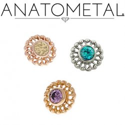 Anatometal 18Kt Gold Threaded Virtue End 2mm Gem 18g 16g 14g 12g