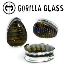 "Gorilla Glass Iridescent Teardrops Ear Plugs 1/2"" to 2"" (Pair)"