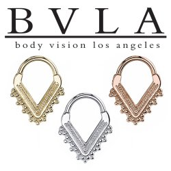 "BVLA 14kt Gold ""Afghan"" V Septum Clicker Nose Ring 16 Gauge 14 Gauge 16g 14g Body Vision Los Angeles"