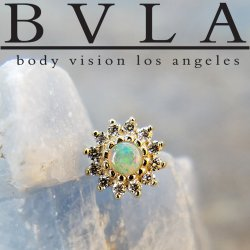 "BVLA 14kt Gold ""The Rose"" Threadless End Genuine Diamonds 18g 16g 14g ""Press-fit"""